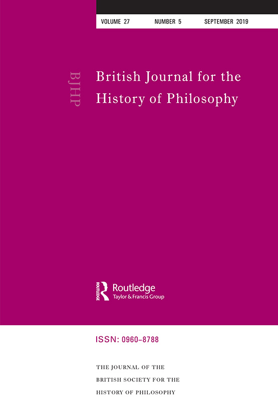 British Journal for the History of Philosophy: Vol 27, No 5