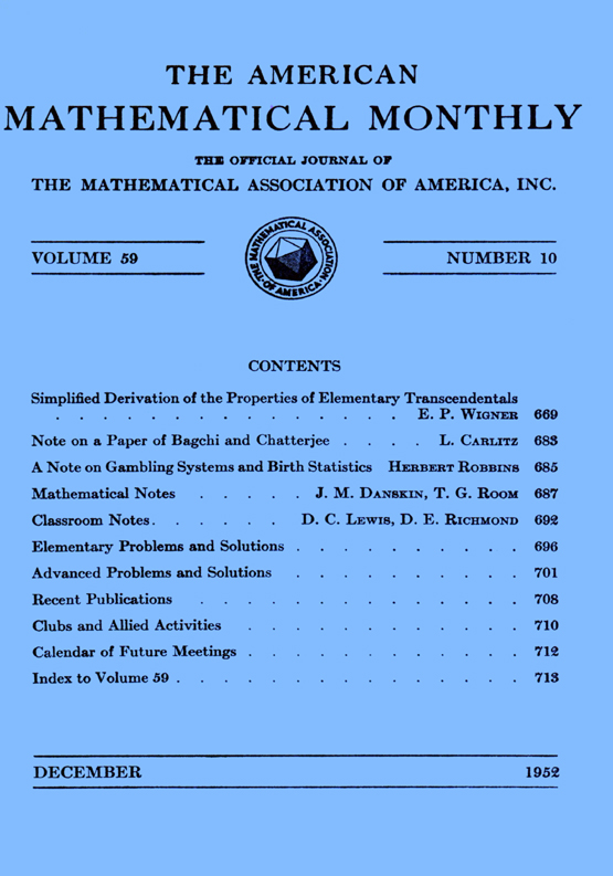 The American Mathematical Monthly: Vol 59, No 10