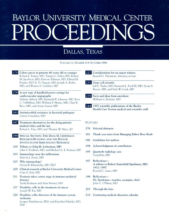 Colon Cancer In Patients 40 Years Old Or Younger Baylor University Medical Center Proceedings Vol 11 No 4