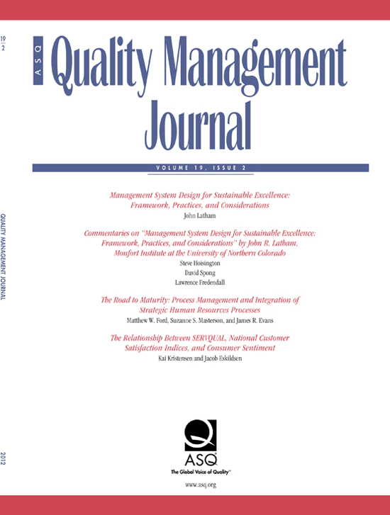 The Road To Maturity Process Management And Integration Of Strategic Human Resources Processes Quality Management Journal Vol 19 No 2