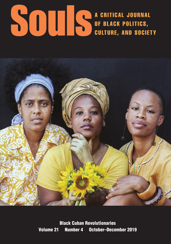 Souls: a critical journal of Black politics, culture, and society cover, black background, picture of three people facing the camera, orange and white text